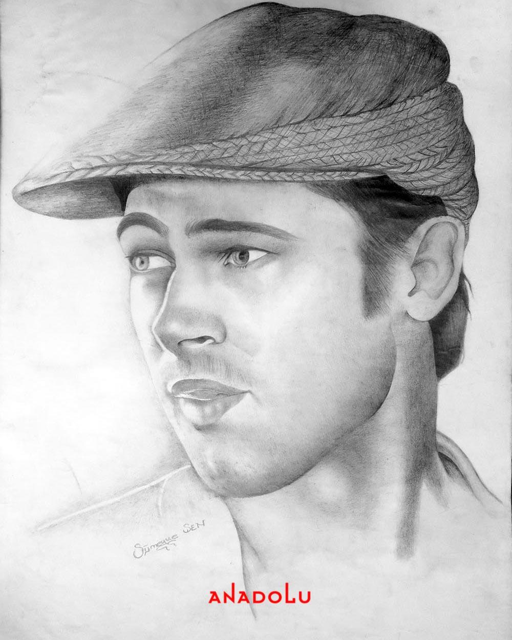 Brad Pitt Karakalem Çizimleri Ankara