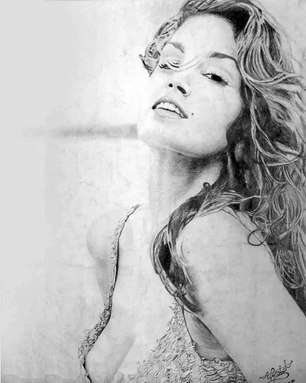Cindy Crawford Kara Kalem Çizimi Ankara