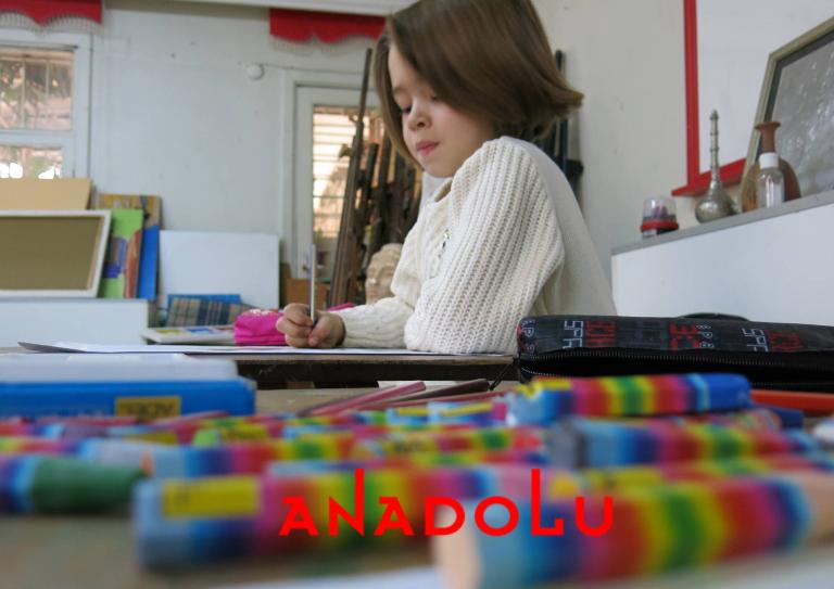 Ankarada Çocuklar Pastel Çalışması
