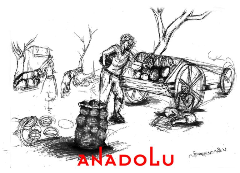 Karakalem İmgesel Meyve Taşıyan Adam Çizimi Ankara
