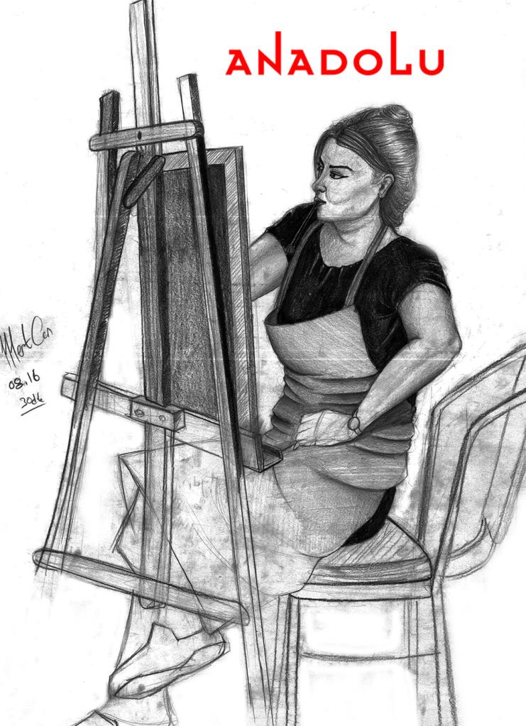 Karakalem İmgesel YağlıBoya Yapan Kadın Çizimi Ankara
