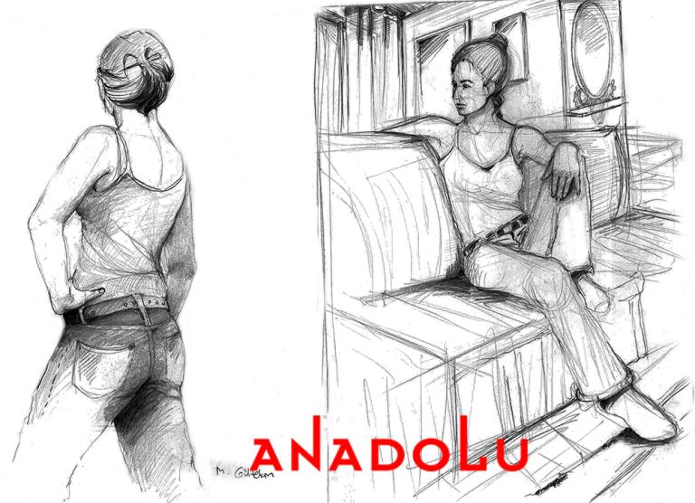 İmgesel Oturma Odasında Oturan Kadın Model Çizimi Ankara