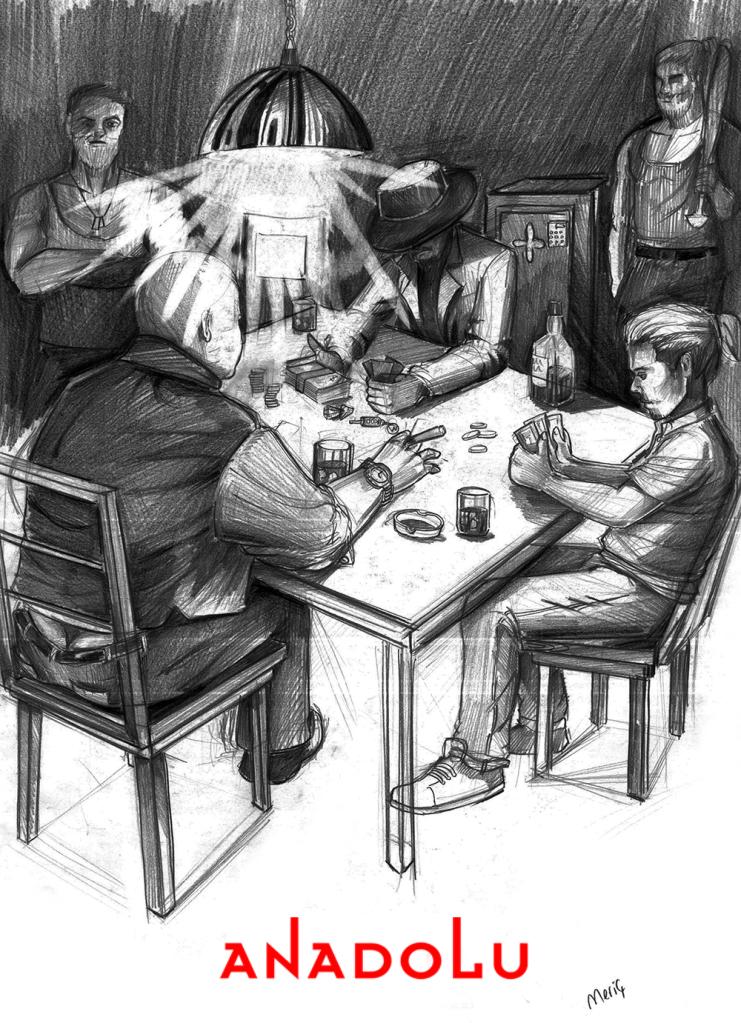 İmgesel karakalem kahvede oyun oynayanlar Ankara