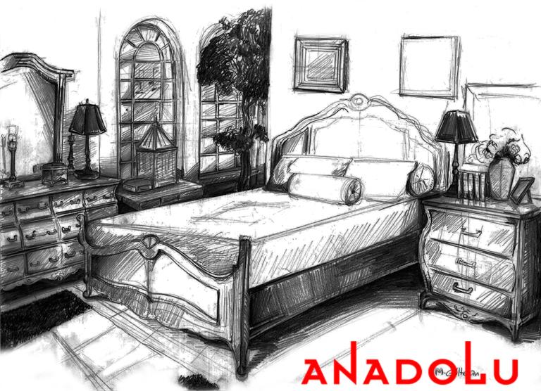 Ankarada Bir Yatak Odası Çizimleri