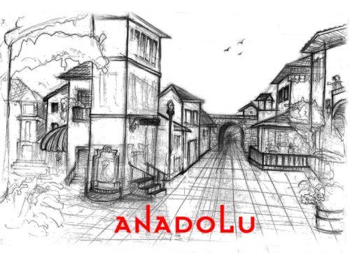 Karakalem Bir Sokak İmgesel Çizim Örneği Ankara